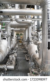 Industrial zone, steam pipeline in steam turbine hall