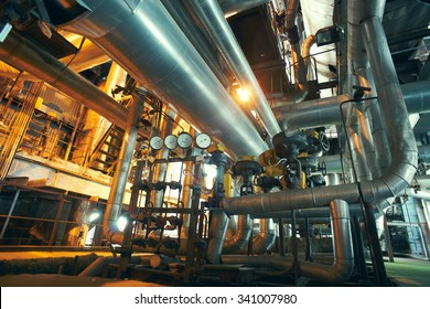 Industrial zone, Steel pipelines, valves and gauges