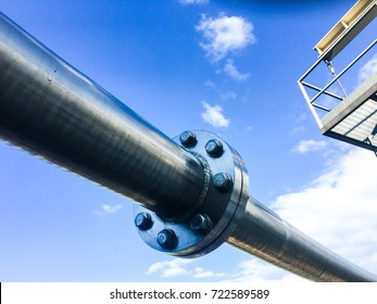 Industrial zone, Steel pipelines , valves and flange against blue sky