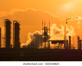 Industrial Zone at Sunset