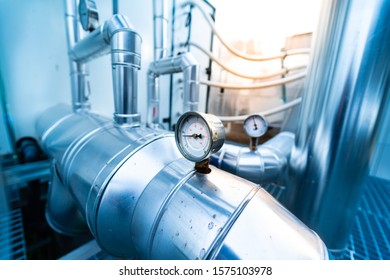 Industrial Zone. Valve meter of industrial ventilation system and pipes.  (Air conditioning system)