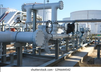 Industrial zone:Pipeline Skid Measuring Station for refinery or chemical plant.Oil metering station and pipeline at refinery  plant.