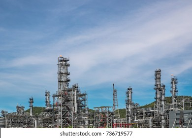 Industrial zone,The equipment of oil refining,Close-up of industrial pipelines of an oil-refinery plant,Detail of oil pipeline with valves in large oil refinery,with blue sky background.