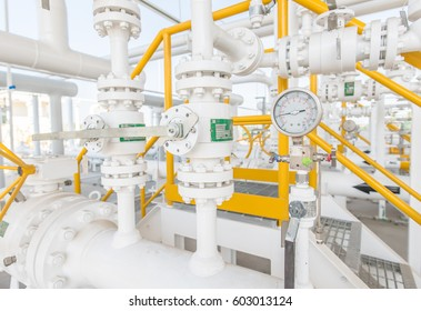 Industrial zone,valve control and measuring gas pressure,pipeline at gas metering station