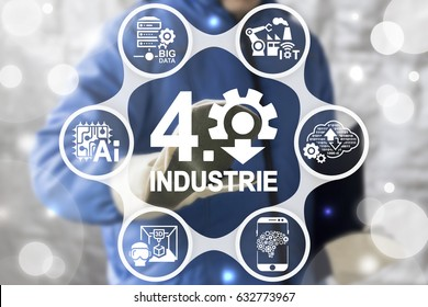 Industrie 4.0 Introduction IT Tech. Smart factory modernization. IoT AI Web Cloud Computing Big Data Robotic 3D Print integration manufacturing concept. Industrial automation manufacture upgrade.