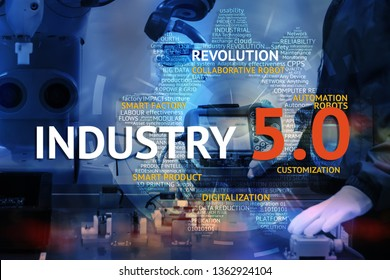 Industry 4.0, 5.0 Collaborative robot technology , new relationship between man and robot hand machine ,mass personalization, productivity customization of cobots in electronic smart factory concept.