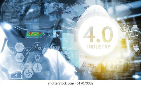 Industry 4.0, Augmented reality , iot and smart logistic concept. Man using AR glasses for check maintenance of machine and robot arm in smart factory. Infographic and texts of industrial (IAR).