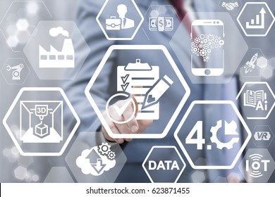 Industry 4.0 compliance concept. Industrial governance automation and robotic modernization strategy technology. Man touched icon clipboard check mark pencil on virtual screen. Strategy, plan.
