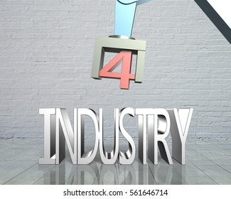 Industry 4.0 concept. 3D robot arm and text of industry 4.0, with bricks wall background.