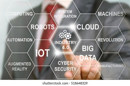 Industry 4.0 concept. Businessman touching industry 4.0 icon in virtual interface screen showing data of smart factory. Business future technology.