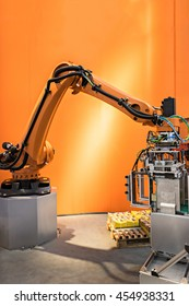 Industry 4.0 concept image , Cyber Physical Systems concept , Automate wireless Robot arm in smart factory and industry