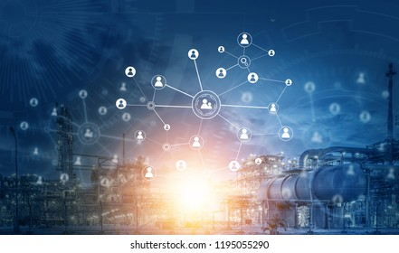 Industry 4.0 concept image. industrial instruments in the factory Oil Industry - refinery factory with social media connection.