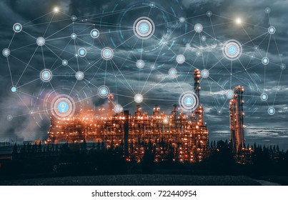 Industry 4.0 concept image. industrial instruments in the factory with cyber and physical system icons ,Internet of things network,smart factory solution