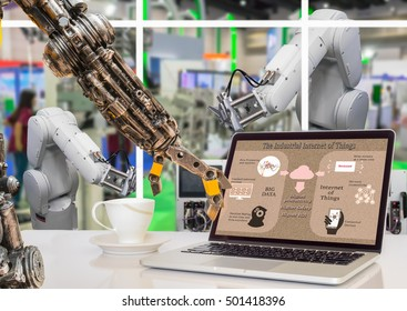 Industry 4.0 concept image. Robot arm point to the Industrial internet of things process diagram on the laptop screen and  Robot arm in the factory.
