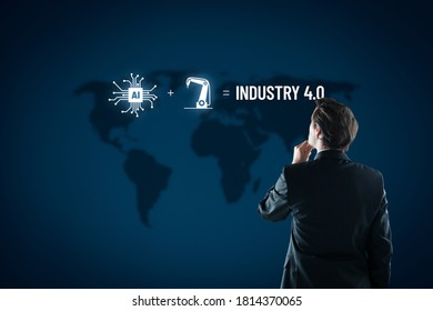 Industry 4.0 concept with manager and equation how to combine artificial intelligence and robotics to improve manufacturing.