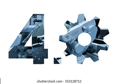 Industry 4.0 concept . Number 4 and gear texts and blue tone of automate wireless Robot arm in smart factory with white background