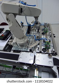 Industry 4.0 concept, smart factory manufacturing line is equipped with sensors. industrial automation line.