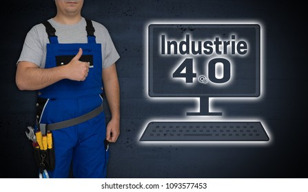 Industry 4.0 and craftsman with thumbs up.