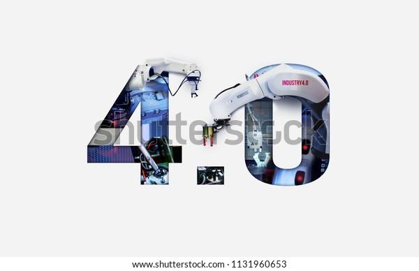 Industry 4.0 double exposure concept. 3D printing, Automation, Robotic arm and Autonomous industrial technology.