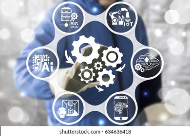 Industry 4.0 - Innovation IT Technology Integration Service Concept. Automation modernization business internet manufacturing. Worker touched icon cogwheels arrows mechanism on virtual screen.