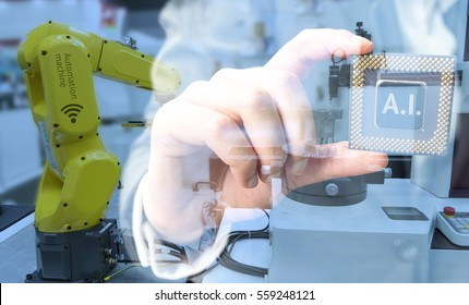 Industry 4.0 , Machine learning and artificial intelligence concept. Man suit hand holding Ai chipsets and blue tone of automate wireless Robot arm in smart factory background