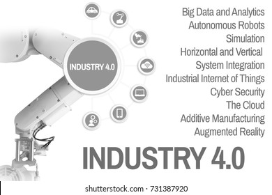 Industry 4.0 Management 4.0 by a robot arm are gray