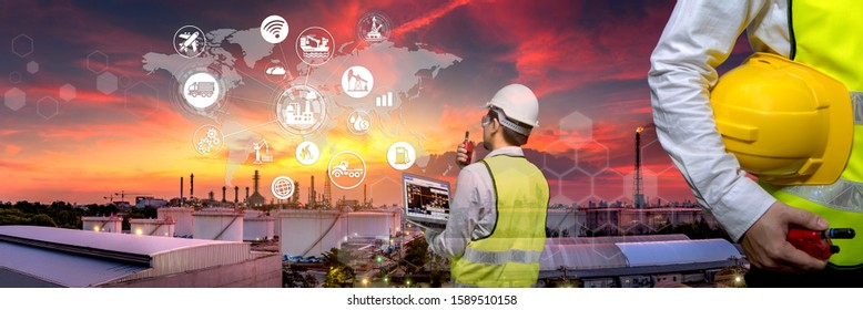 Industry 4.0 Oil refinery and double exposure icon concepts, networking and data exchange and modern technology for the world industrail.
