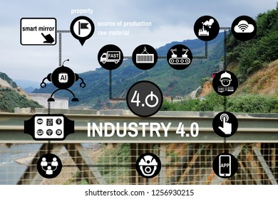 Industry 4.0 revolution concept of network technology symbol Background Dam in Laos