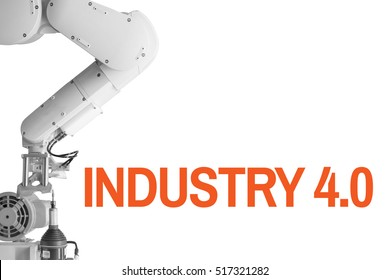 Industry 4.0 Robot arm and industrial  White  background Orange Text