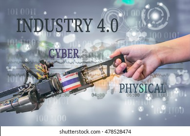 Industry 4.0, Robot and Automation concept. Handshake between a robot and a human on futuristic background and message of cyber - Physical.