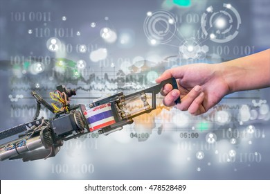 Industry 4.0, Robot and Automation concept. Handshake between a robot and a human on futuristic background.