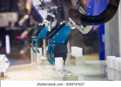 Industry 4.0 Robot concept .The robot arm is working smartly in the production department, the future factory.