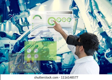 Industry 4.0 Robot concept .Engineers are using virtual AR to maintain and check the work of human robot in the 4.0 Smart Factory.
