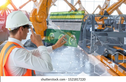 Industry 4.0 Robot concept .Engineers are using virtual AR to maintain and check the work of human robot in the 4.0 Smart Factory.Mix 3d rendering