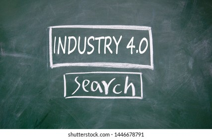 Industry 4.0 search sign on blackboard