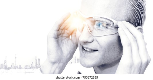 Industry 4.0 , Smart engineering and augmented reality glasses equipment technology concept. Engineer using glasses for monitoring status of machine and factory background. Copyspace image.