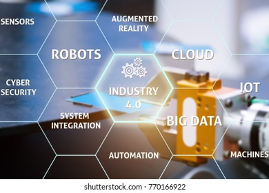 Industry 4.0 in virtual interface with smart factory. Robotic arm choosing card from moving plate with modern AI technology in a factory. Industrial and technology concept.