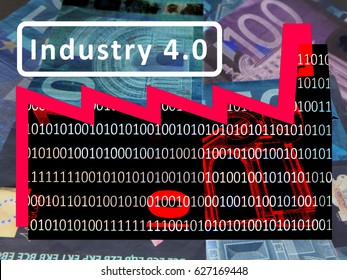 Industry 4.0: The working world of the future - The symbol of a factory against the background of euro notes. The roof section signals a rising exchange rate. Inscription: Industry 4.0 (International)