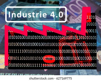 Industry 4.0: The working world of the future -  The symbol of a factory against the background of euro notes. The roof section signals a rising exchange rate. Inscription: Industrie 4.0 (German)