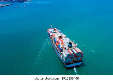 Industry business Service logistics cargo containers ship import export by the sea camera from drone aerial view