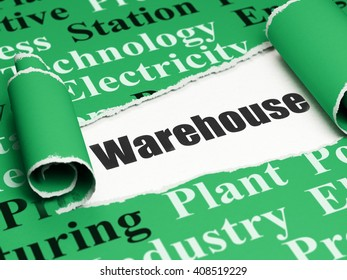 Industry concept: black text Warehouse under the curled piece of Green torn paper with  Tag Cloud, 3D rendering