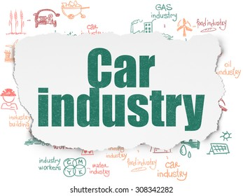 Industry concept: Car Industry on Torn Paper background