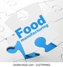 Industry concept: Food Manufacturing on White puzzle pieces background, 3D rendering