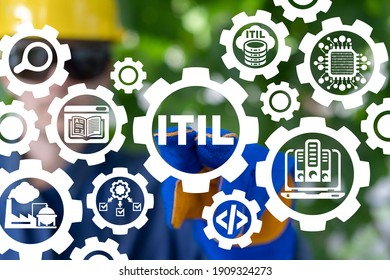 Industry concept of ITIL Information Technology Infrastructure Library. Industrial data service architecture.