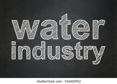 Industry concept: text Water Industry on Black chalkboard background