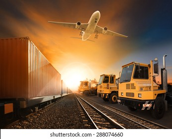industry container trains running on railways track plane cargo flying above and ship transport in import export container yard