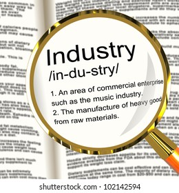 Industry Definition Magnifier Shows Engineering Construction Or Factories