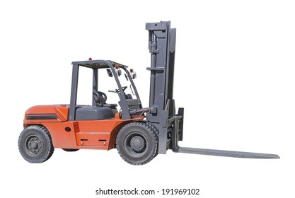 Industry equipment or forklift isolated on white background.