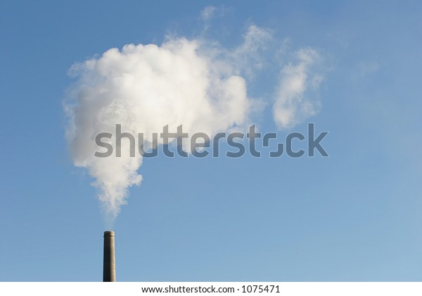 industry - industrial chimney with smoke, horizontal version with copyspace