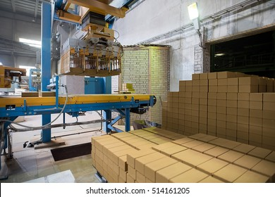 Industry. Manufacturing of bricks on factory